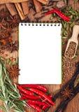 Abra o caderno com especiarias e ervas Fotos de Stock Royalty Free