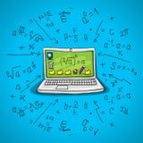 Abra o caderno com fórmulas matemáticas e geométricas, o monitor no carro tirado rjtorom, dobradores Foto de Stock Royalty Free