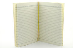Abra o caderno do suporte no fundo branco Imagens de Stock Royalty Free