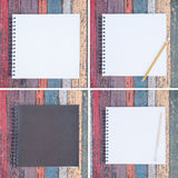 4 abra o caderno e a pena roxos na tabela de madeira do vintage para o fundo e o texto Foto de Stock