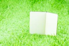 Abra o caderno no tem da grama verde, do conceito do negócio e da educação Imagem de Stock Royalty Free