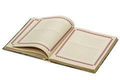 Abra o caderno velho, isolado no fundo branco Foto de Stock Royalty Free
