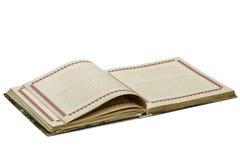 Abra o caderno velho, isolado no fundo branco Fotos de Stock Royalty Free