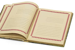 Abra o caderno velho, isolado no fundo branco Fotografia de Stock