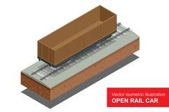 Abra o carro de trilho para o transporte de cargas de maioria Vagão coberto do trilho Ilustração isométrica do vetor do trilho co Imagens de Stock