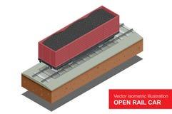 Abra o carro de trilho para o transporte de cargas de maioria Vagão coberto do trilho Ilustração isométrica do vetor do trilho co Foto de Stock