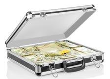 Abra o caso com os dólares e as drogas isolados no branco Fotografia de Stock