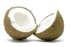 Abra o coco isolado no branco fotografia de stock