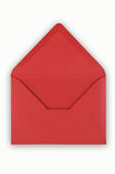 Abra o envelope vermelho no fundo branco. fotografia de stock