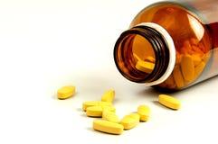 Abra o frasco de comprimido com medicina Imagens de Stock Royalty Free