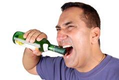 Abra o frasco de vinho fotografia de stock