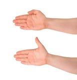Abra o gesto de mão da palma isolado Fotografia de Stock Royalty Free