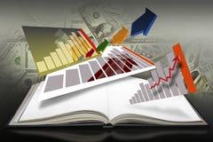 Abra o livro com as páginas dos gráficos de barra Imagem de Stock