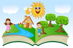 Abra o livro com crianças e paisagem do verão Imagem de Stock Royalty Free
