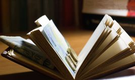 Abra o livro com dinheiro fotos de stock