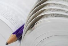 Abra o livro com lápis Fotografia de Stock