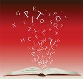 Abra o livro com letras Imagens de Stock