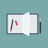 Abra o livro com pena, lápis e um eliminador Ilustração do vetor da vista superior Imagens de Stock Royalty Free