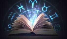 Abra o livro de brilho da astrologia com sinais do zodíaco acima 3D rendeu a ilustração Imagens de Stock