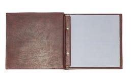 Abra o livro de couro Fotografia de Stock