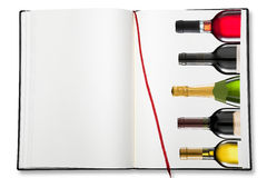 Abra o livro de exercício vazio (a carta de vinhos) Foto de Stock Royalty Free