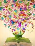 Abra o livro do vintage da flor da abundância Fotografia de Stock Royalty Free