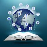 Abra o livro e o globo com ícone médico Fotografia de Stock