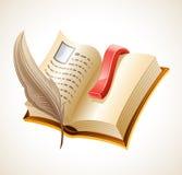 Abra o livro e o quill. Fotos de Stock