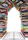 Abra o livro e uma pilha de livros sob a forma das janelas, portas, quadros ilustração royalty free