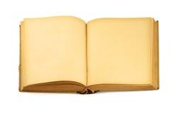 Abra o livro em branco velho no branco imagem de stock