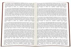 Abra o livro escrito imagens de stock