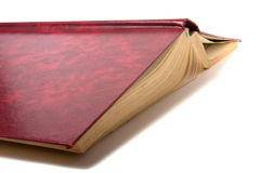 Abra o livro isolado no fundo branco Fotografia de Stock Royalty Free