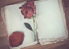 Abra o livro velho com as páginas vazias para o texto e seque cor-de-rosa na tabela de madeira Imagens de Stock