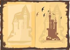 Abra o livro velho com uma imagem do castelo Fotografia de Stock