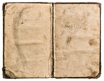 Abra o livro velho isolado no branco textura de papel vestida suja Fotografia de Stock