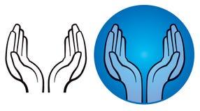 Abra o logotipo das mãos ilustração royalty free
