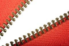 Abra o macro vermelho do fecho de correr Imagem de Stock Royalty Free