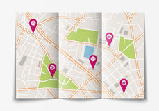 Abra o mapa de papel da cidade Foto de Stock Royalty Free
