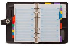 Abra o organizador pessoal em branco Fotografia de Stock