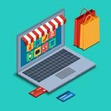 Abra o portátil com ícones em linha da compra Imagens de Stock Royalty Free