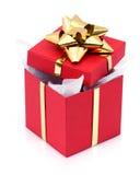 Abra o presente na caixa Fotos de Stock Royalty Free