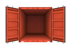 Abra o recipiente do metal isolado no fundo branco Foto de Stock