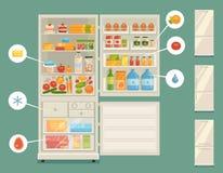 Abra o refrigerador completamente dos alimentos frescos Fotografia de Stock Royalty Free