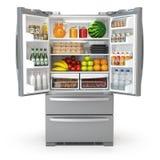 Abra o refrigerador do refrigerador completamente do alimento e das bebidas isolados no wh ilustração stock