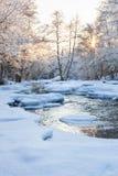 Abra o rio no inverno Foto de Stock Royalty Free