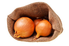 Abra o saco da juta com cebolas maduras. Imagens de Stock