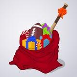 Abra o saco de Santa Claus completamente do presente e das caixas atuais Estilo simples dos desenhos animados Ilustração do vetor Fotos de Stock Royalty Free