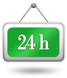 Abra o sinal vinte de quatro horas Fotografia de Stock