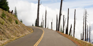 Abra o vulcão danificado estrada do Mt St Helens da zona da explosão da paisagem Foto de Stock