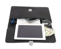 Abra objetos pretos da pasta e do negócio Fotos de Stock Royalty Free